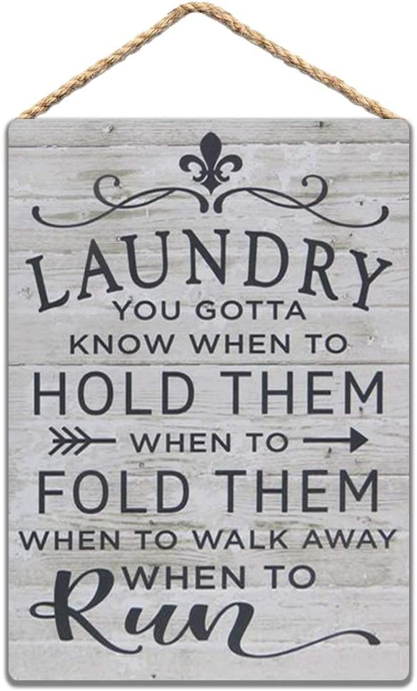 Wood Laundry Room Sign Laundry.You Gotta Know When to Hold Them.Funny Laundry Room Sign Decor 8x12 in/ 20x30 cm