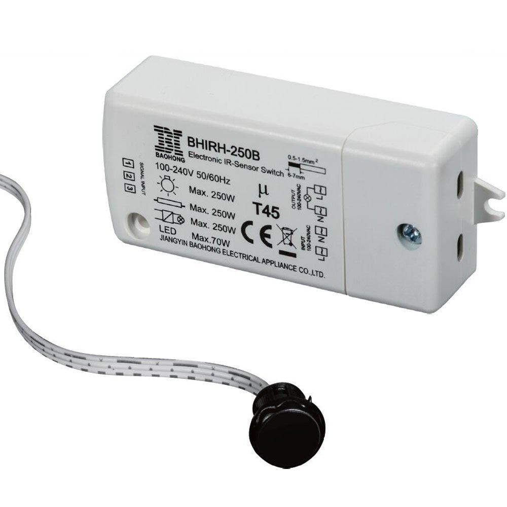 Commutateur de capteur infrarouge-HoneyFly BHIRH-250B Commutateur de capteur,250W(max.70W pour LEDs),câble 100-240V 2m,plage de détection 5-10cm Utilisé dans les armoires Intérieur Ouvrir fermer