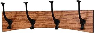 product image for PegandRail Oak Wall Mounted Coat Rack - Arched Back Design - Black Mission Hooks - Made in The USA (Burnt Orange, 20 x 6.5-4 Hooks)