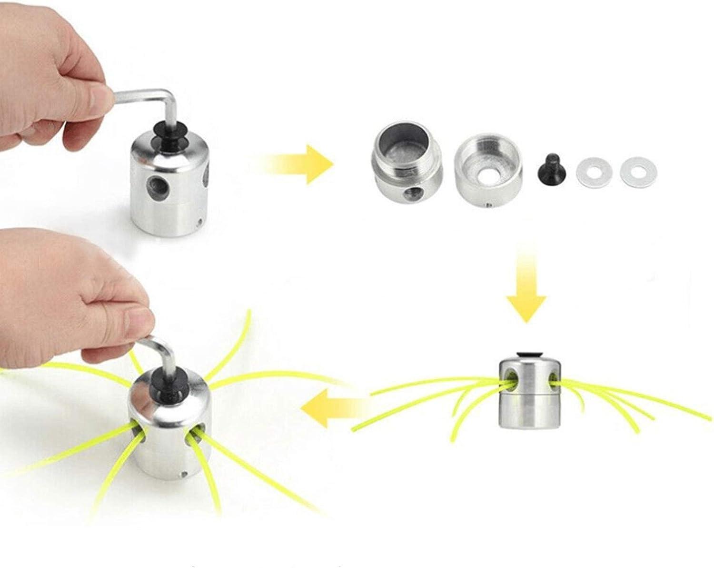 ManLee Testina Decespugliatore Universal Alluminio con 4 Nylon Filo Trimmer Head Accessori per Stringa di Alluminio Testa di Erba con Rondella Chiave Esadecimale per Decespugliatore Tagliaerba