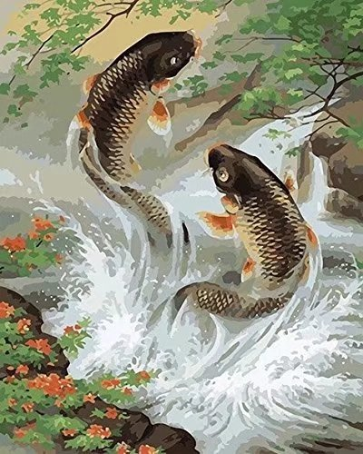 ESOOR Oil Painting for Adults Kids Paint By Number Kit Digital Oil Painting Fish Brothers 16X20 Inches