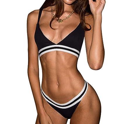 e50041222a Flower Women's Bikini Cut Stripe Set Swimsuit Pushups Filled Bra Swimwear  Beachwear (M, Black): Arts, Crafts & Sewing