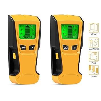 Detector de Pared, Metal Detector Digital, Madera y AC Cable, Escáner de Pared Clásico y Multifuncional, Retroiluminación LCD, Indicación de Distancia: ...