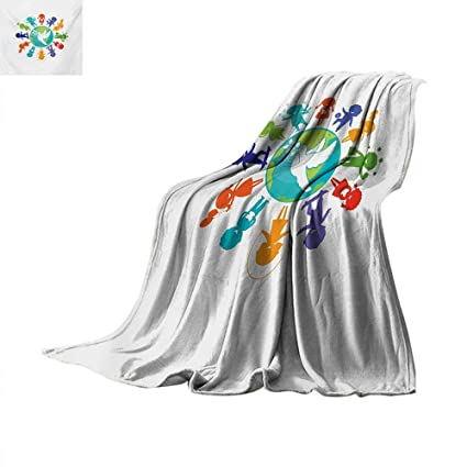 Amazon Youth Weave Pattern Blanket Cute Children Silhouettes