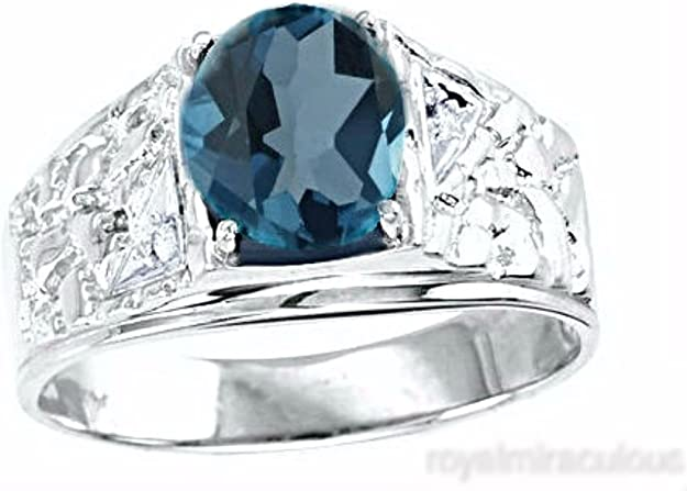 Tonal Blue Topaz Ring in Sterling Silver t.w Details about  /Lapis and .80 ct