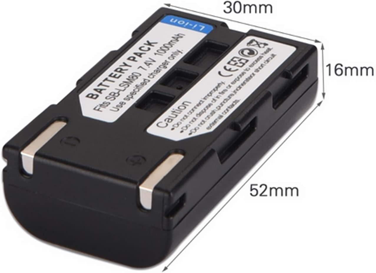 VP-D361i Battery VP-D361W VP- D362 VP-D361Wi and LCD USB Charger for Samsung VP-D361 2-Pack VP- D362i Digital Camcorder