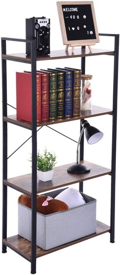 Basde - Estantería industrial de escalera, 4 estantes, abierta, estrecha, estantería de madera envejecida y metal, estantería de almacenamiento, marco de metal, muebles modernos para el hogar y la oficina: Amazon.es: Juguetes