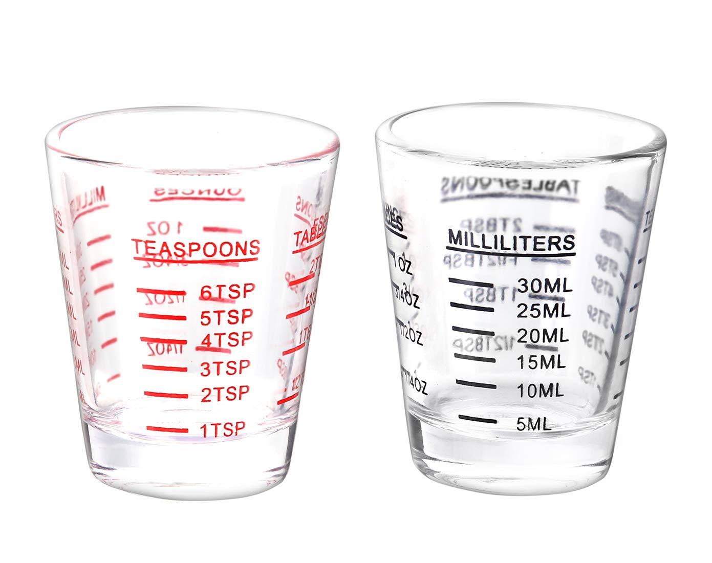Shot Glasses Measuring cup Espresso Shot Glass Liquid Heavy Glass Wine Glass 2 Pack 26-Incremental Measurement 1oz, 6 Tsp, 2 Tbs, 30ml (Black and Red)