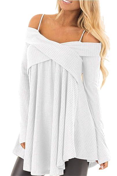 bb217f4779c1 Maglione Spalle Scoperte Donna Pullover Lungo a Maglia Maxi Maniche Lunghe  Camicia Scollo a Barca Blusa