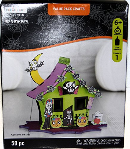 Halloween Haunted House Foam Activity 3 D Craft Structure Kit, Makes 1 Centerpiece or Decoration