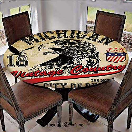 Elastic Edged Polyester Fitted Table Cover,Hand Drawn City of Detroit Michigan Digital Art with a Portrait of an Eagle Decorative,Fits up 40