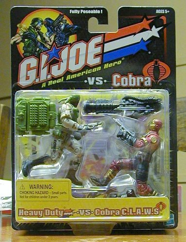Gi Claws Joe (GI JOE vs. COBRA Heavy Duty (Grey/Green Uniform) vs. Cobra C.L.A.W.S. Claws (Maroon/Tan Uniform) Action Figure Set)