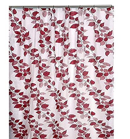 Yellow Weaves™ PVC Floral Shower Curtain 54X80 Inches- 8 Hooks, Red Colour