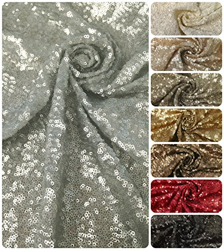 (3mm Micro Mini Matte Overlapping Sequins on Nylon Mesh Fabric By the Yard (Silver))