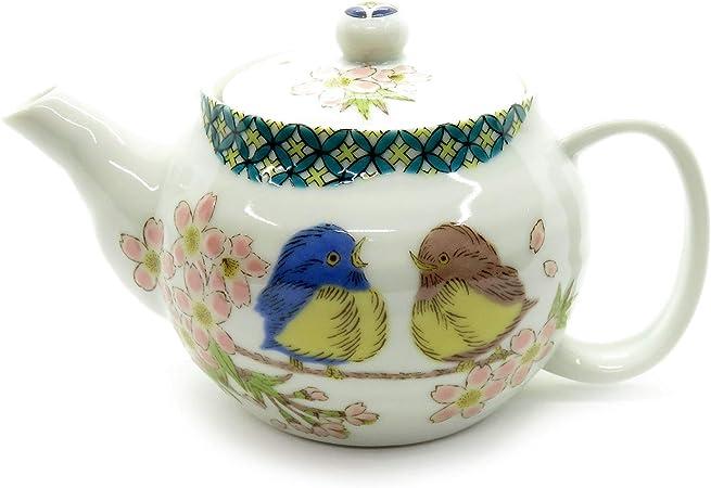 Japanese Teapot Sakura Gold Kutani Yaki ware with tea strainer