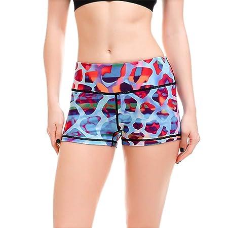 Mujer Mallas Shorts de Yoga, Mujeres Leopardo Azul ...