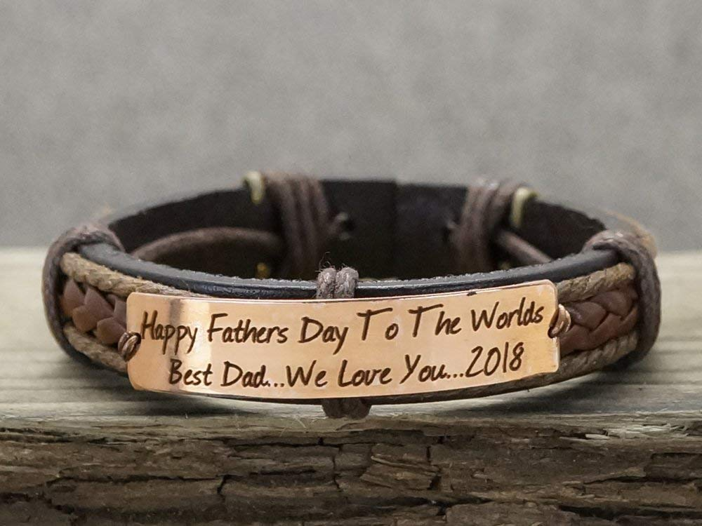 Father dear gift to charm. brother Mens Personalized Bracelet,Men/'s leather bracelet,Genuine leather and tumbled copper