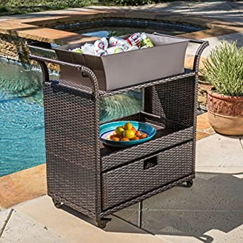 Bar Cart Utility Rolling Wheels Wicker Kitchen Island Storage Portable  Table Indoor Outdoor Backyard Patio Food