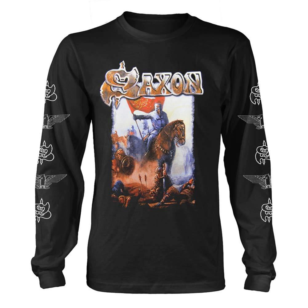 Saxon Camiseta de Manga Larga para Hombre Color Negro dise/ño con Logo de Cruzado