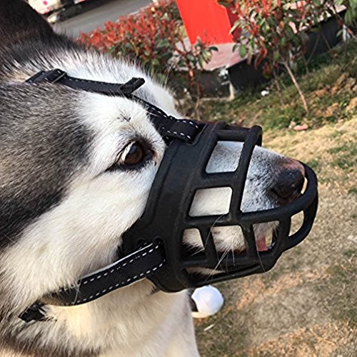 Be Good Silicone Basket Cage Dog Muzzle Soft and Comfortable Anti-biting Barking Mouth Cover Adjustable Strap Safety Dog Muzzle with a Dog ID Tag Size 02