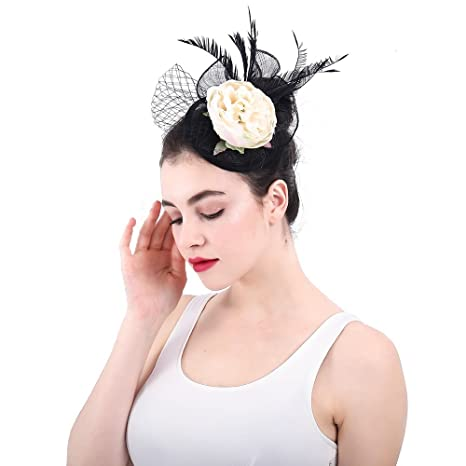 a09936ca52953 Image Unavailable. Image not available for. Color  Man hongjia Women s  Elegant Hat Fascinator Cocktail Tea ...
