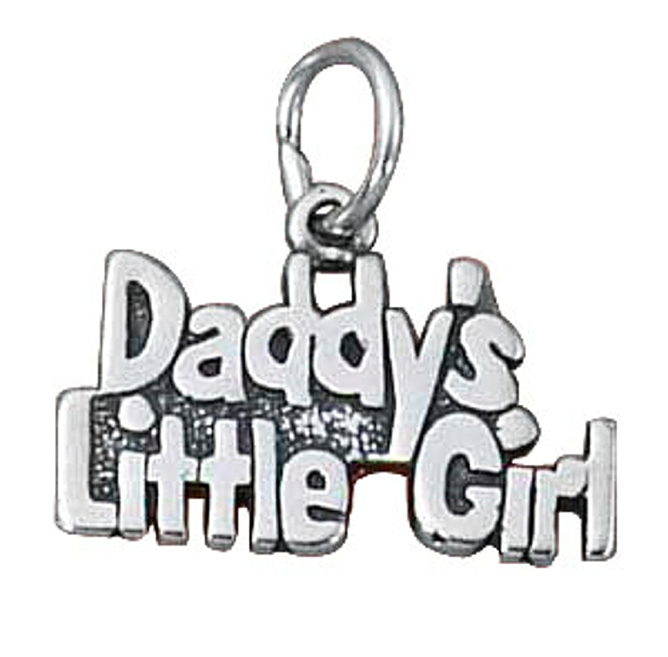 Sterling Silver Womens 1mm Box Chain DADDYS LITTLE GIRL Word Pendant Necklace