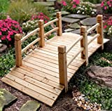 5' Wood Plank Garden Bridge with Rails