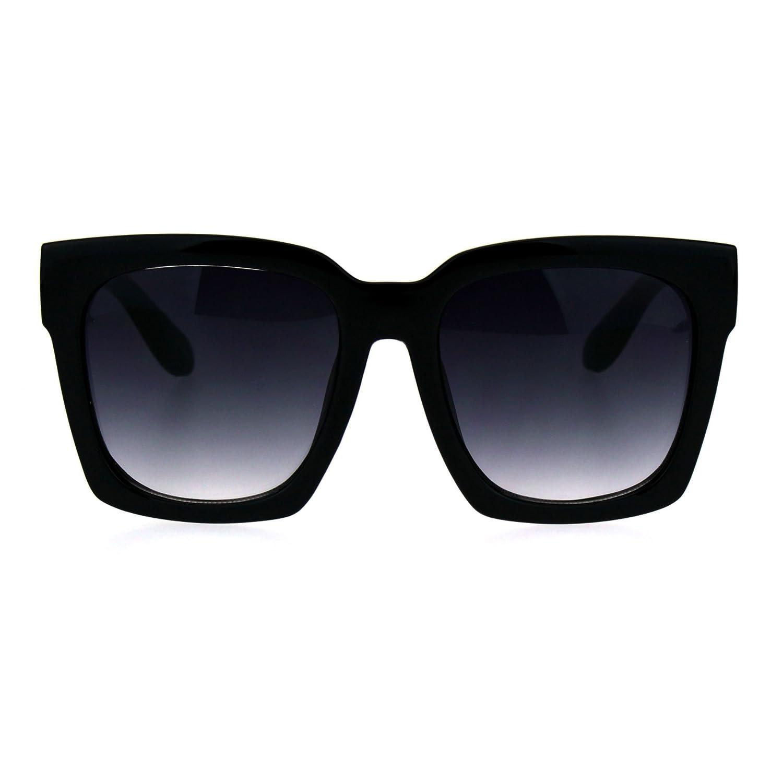 SUPER Oversized Square Sunglasses Womens Modern Hipster Fashion Black, Smoke