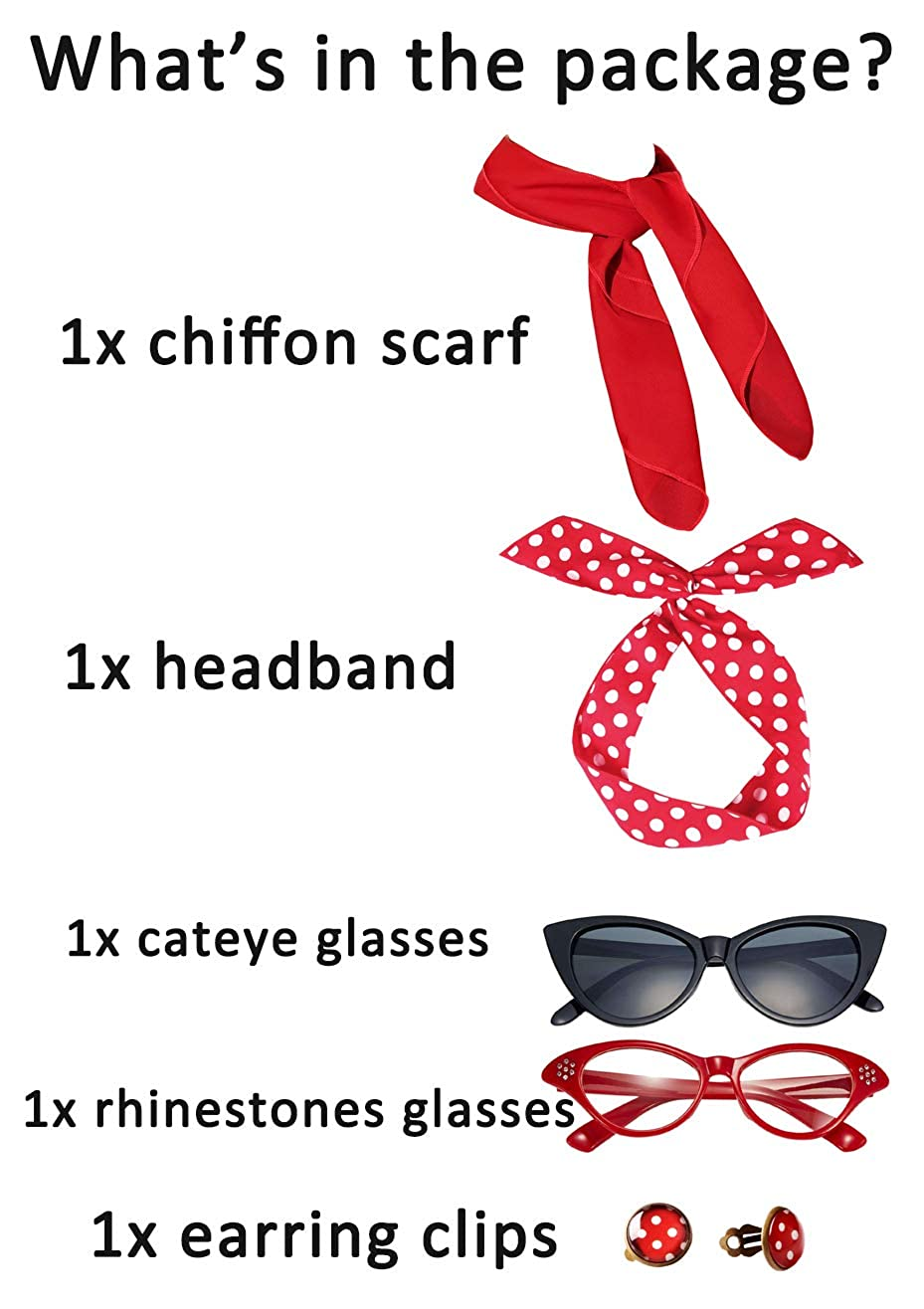 4bcb5ab7fc8 50 s Accessories Scarf Headband Cat Eye Glasses Clip on Earrings Set  Fairycece larger image