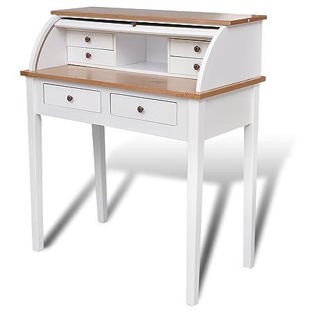 Escritorio de secretaria madera / Mesa de oficina blanca: Amazon ...