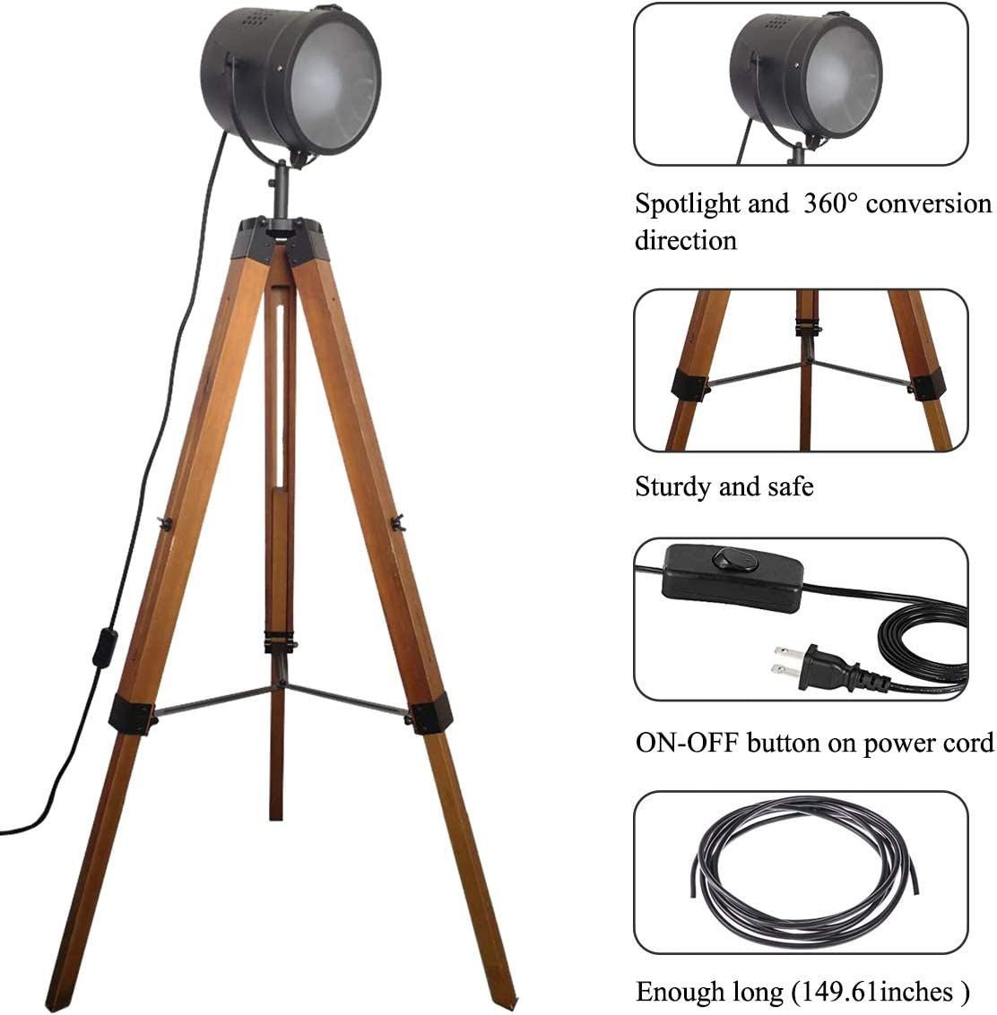 Vintage Tripod Floor Table Lamp Industrial Spotlight Cinema Black Shade Wood Legs Metal Nautical Searchlight for Living Room-Without Edison Bulb