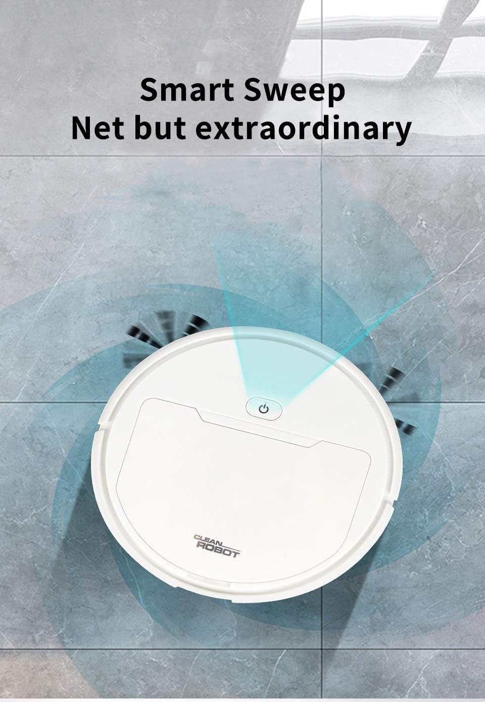 XXFFD Smart Home Robot Aspirateur Balai Balayer Cleaner Humide Sec Petit Rechargeable Balayer Nettoyage Automatique Accueil Robot Machine (Color : Black) White