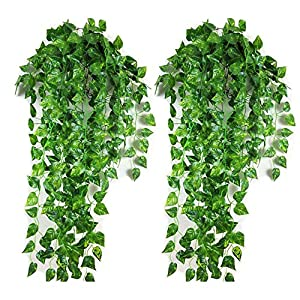 SHACOS 24 Strands Artificial Greenery Garland,Fake Vine Leaves Décor English Ivy Plants for Wedding Party Home Indoor Outdoor Decorations 6
