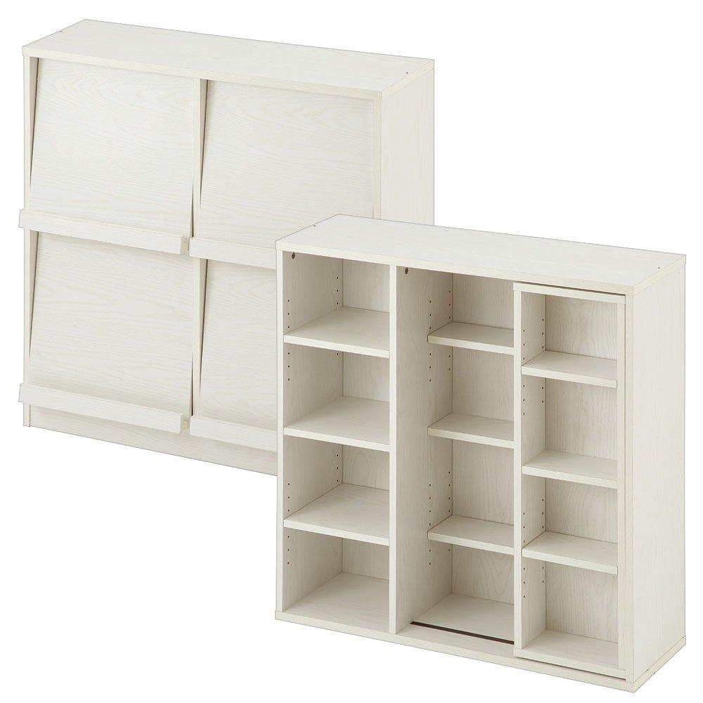 ぼん家具 幅90×奥行29cm 薄型 本棚 2台セット 大容量 スライド棚 フラップ扉 ディスプレイラック 棚 ホワイト B07DKXDCP1 ホワイト