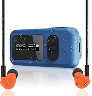 SUNNZO 16GB Waterproof IP68 Swimming MP3 Player with Screen, Rotatable Clip,USB Port, More Than 10 Hours Playback, withstands Submersion to 3M,Support FM Radio and Pedometer Function