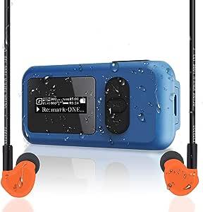 Reproductor MP3 de Natación Impermeable IP68 de 16GB con Pantalla, Clip Giratorio, Puerto USB, Reproducción de Más de 10 Horas, Admite Inmersión a 3M, ...