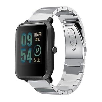 squarex Correa para Reloj de Pulsera de Acero Inoxidable para Xiaomi Amazfit Bip Youth Watch, Color Plata: Amazon.es: Deportes y aire libre
