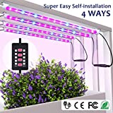 MIXC 4 Pack LED Strips Light Bar with Timer Auto Turn On and Off, 28W Grow lamp 5 Levels Brightness Adjustable Dimmable for Indoor Seedling Succulent with 10 Plant Labels 2 Gar, Red/Blue Spectrum