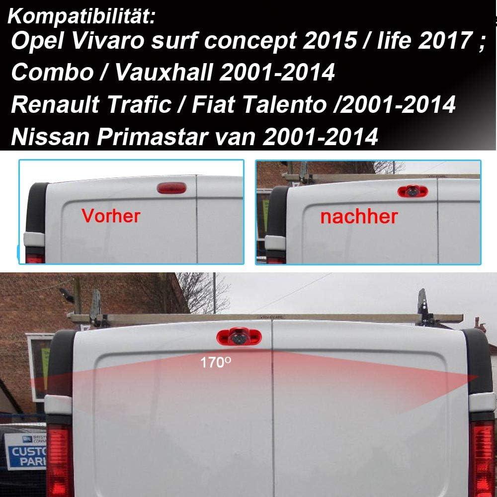 HDMEU Voiture Troisi/ème mont/é sur Le Toit Haut Cam/éra de recul pour Opel Vivaro Surf Concept 2015//life 2017 Combo Vauxhall Renault Trafic Fiat Talento Nissan Primastar Van