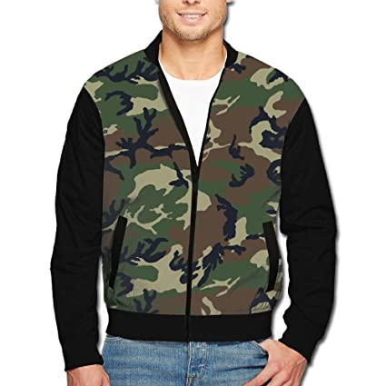 1de114388611d Image Unavailable. Image not available for. Color: Men's Collar Jacket Dark  Green Camouflage Zipper Jacket Baseball Jacket Zipper Jacket Men's Long  Sleeve