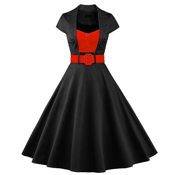 K&GQ Vestido VB Las Mujeres Falda de Manga Corta Color Hechizo péndulo Grande botón Correa,Negro,3XL: Amazon.es: Ropa y accesorios