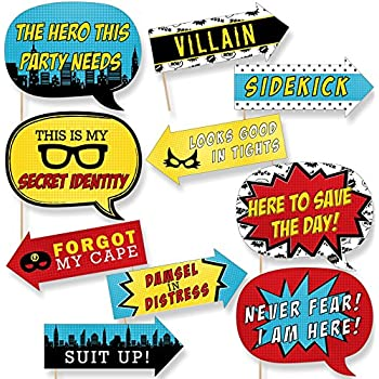 image regarding Free Printable Superhero Photo Booth Props called Humorous BAM! Superhero - Youngster Shower or Birthday Occasion Image Booth Props Package - 10 Piece