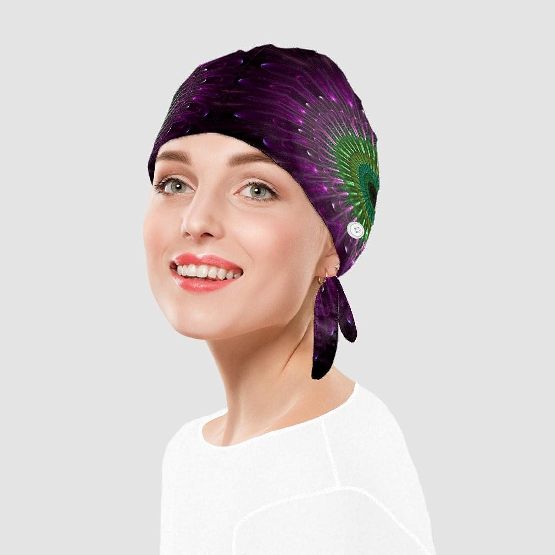 color morado gorro de trabajo impreso en 3D Gorra de trabajo para mujer con bot/ón y banda para el sudor para el pelo largo mandala para hombre sombreros ajustables con lazo