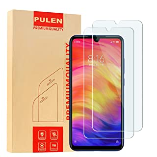 [2-Pack] PULEN Screen Protector for Xiaomi Redmi Note 7 and Xiaomi Redmi Note 8,HD Clear Scratch Resistance Bubble Free 9H Hardness Tempered Glass (6.3 Inch)