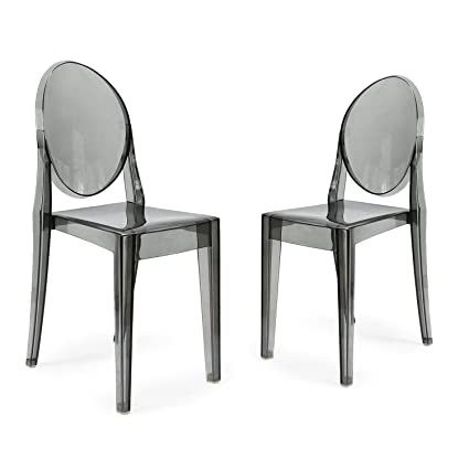 Merveilleux Adeco Plastic Ghost Side Chair For Outdoor Or Dining Living Room, Set Of 2,