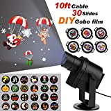 ACRATO Christmas Light Projector, DIY LED Projector light, Outdoor and Indoor Holiday Spotlight IP65 Waterproof, Project Rotating Photo Picture on Wall with 30 Gobo for Xmas Wedding Birthday Bar Party