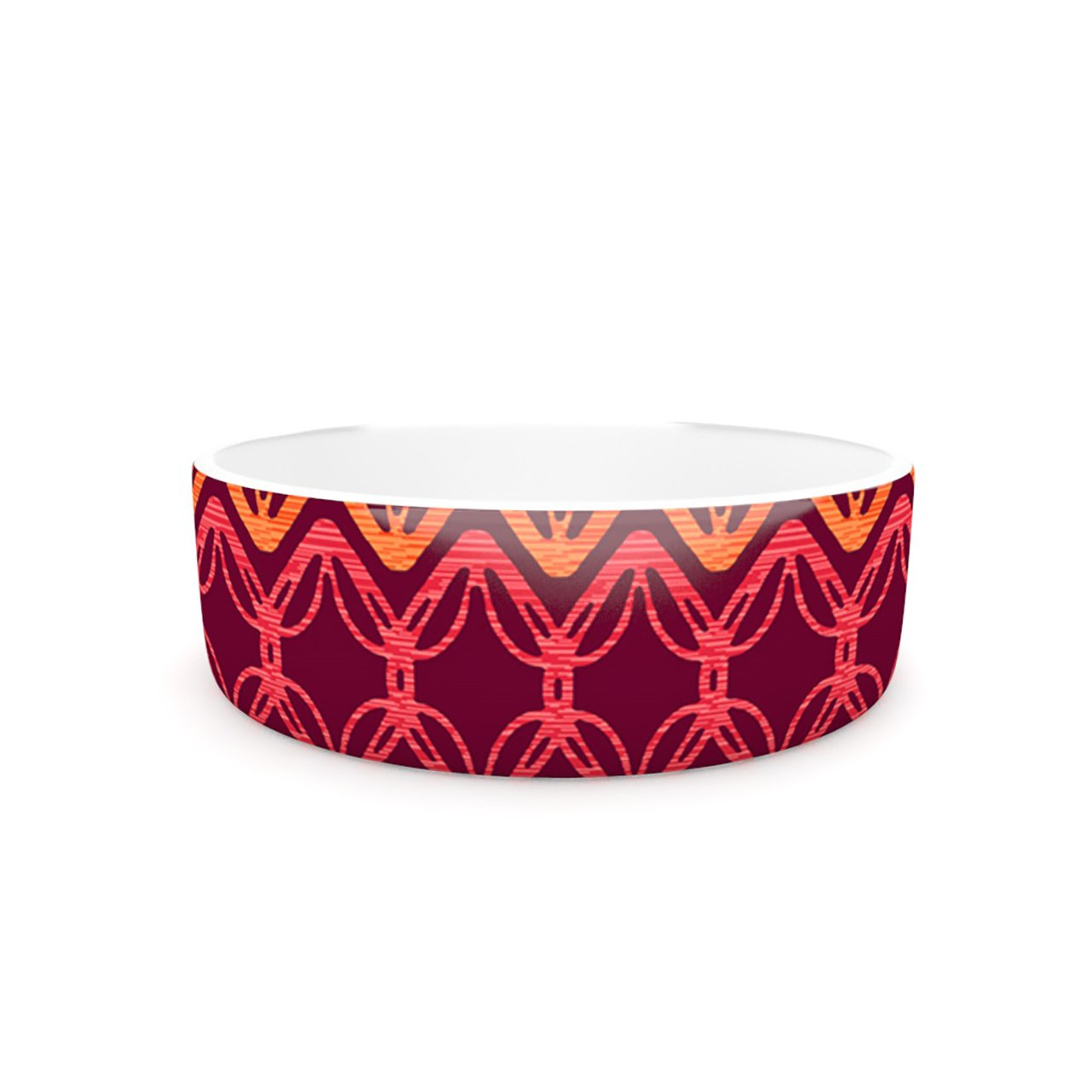 Kess InHouse Suzie Tremel Rick Rack  Pet Bowl, 7-Inch, Red orange