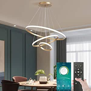 Smart Modern LED Pendant Light, 3 Rings LED Chandeliers Fixture Dimmable Contemporary Circular LED with BT Wireless Smart APP Remote Control 3 Color in One LED Chandelier Ceiling Pendant Light, 72W