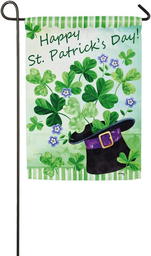 Evergreen Flag St. Patrick's Hat Hurray Suede Garden Flag, 12.5 x 18 inches