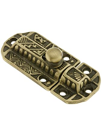 Decorative Brass Slide Latch In Antique Brass Reproduction Hardware